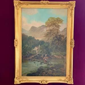 19th Century Albert Dunnington Oil on Canvas Scottish Highlands