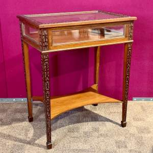 1920s Mahogany Chip Carved Bijouterie Table