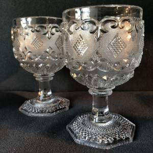 Pair of Victorian Glass Goblets by Baccarat