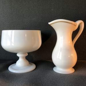 Victorian Opaque Glass Sugar and Cream Set