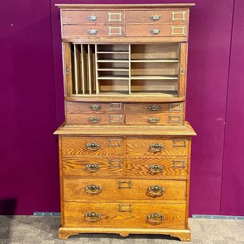 Unusual Late Victorian Two Part Oak School Cabinet image-1