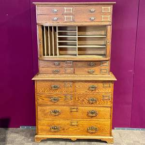 Unusual Late Victorian Two Part Oak School Cabinet