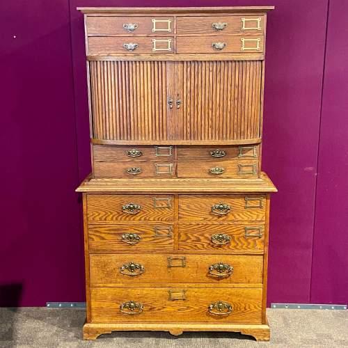 Unusual Late Victorian Two Part Oak School Cabinet image-2