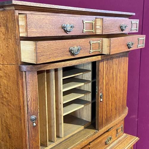 Unusual Late Victorian Two Part Oak School Cabinet image-3