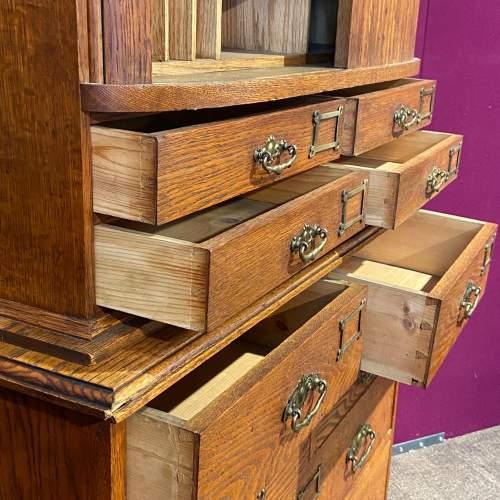 Unusual Late Victorian Two Part Oak School Cabinet image-4