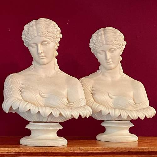 Pair of Mid 19th Century Copeland Parian Busts of Clytie image-1