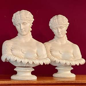Pair of Mid 19th Century Copeland Parian Busts of Clytie