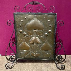 Arts and Crafts Wrought Iron and Copper Fire Screen