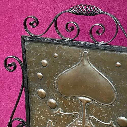 Arts and Crafts Wrought Iron and Copper Fire Screen image-2