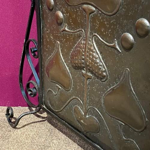 Arts and Crafts Wrought Iron and Copper Fire Screen image-3
