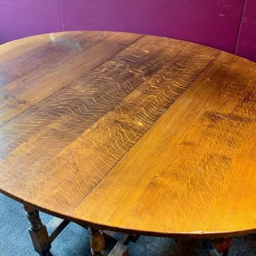Large Oval Oak Drop Leaf Dining Table image-5