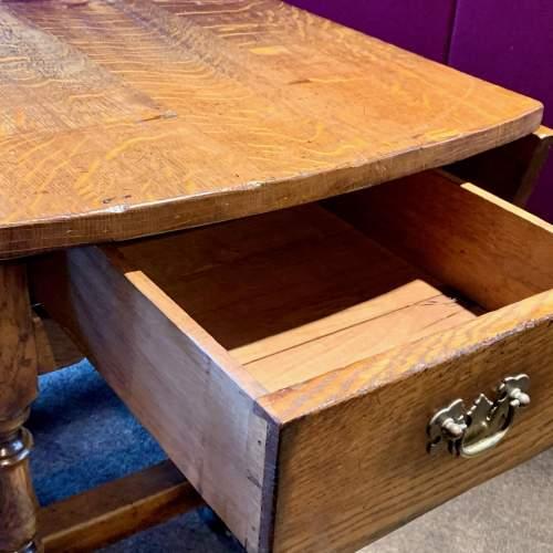 Large Oval Oak Drop Leaf Dining Table image-6