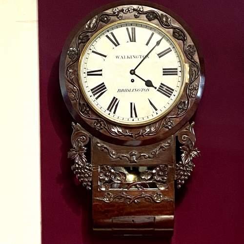English 8-Day Single Fusee Drop Dial Wall Clock image-1