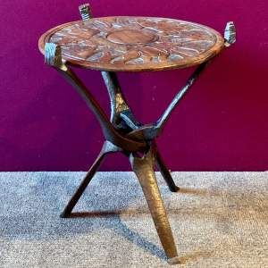 Early 20th Century African Carved Wood Folding Table