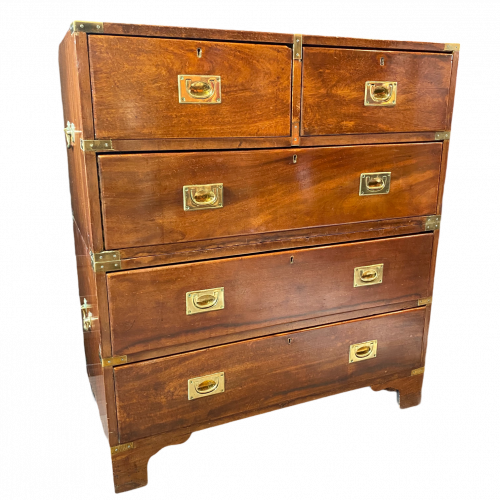 19th Century Mahogany Campaign Chest of Drawers image-1