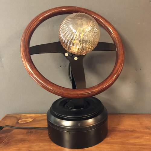 Vintage Wooden Car Steering Wheel Upcycled Lamp image-2