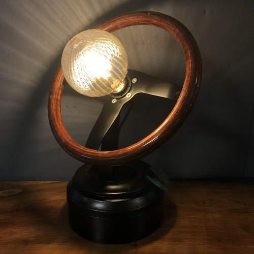 Vintage Wooden Car Steering Wheel Upcycled Lamp image-4