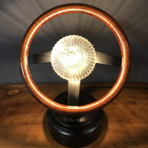Vintage Wooden Car Steering Wheel Upcycled Lamp image-1