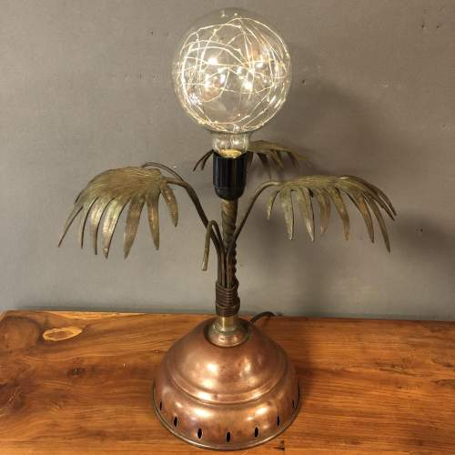 Palm Tree Brass and Copper Dolly Lamp image-3