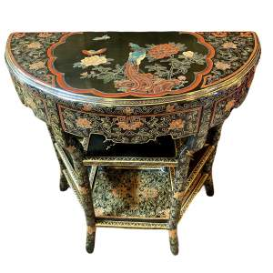 19th Century Chinese Lacquer Demi Lune Console Table