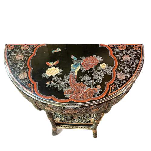19th Century Chinese Lacquer Demi Lune Console Table image-2