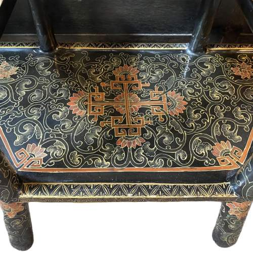 19th Century Chinese Lacquer Demi Lune Console Table image-3