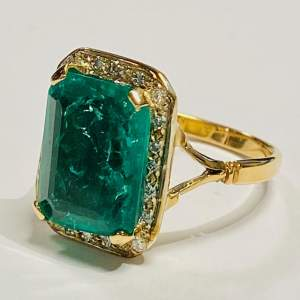 18ct Gold 6ct Emerald and Diamond Ring