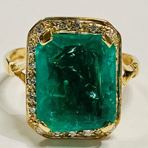 18ct Gold 6ct Emerald and Diamond Ring image-2