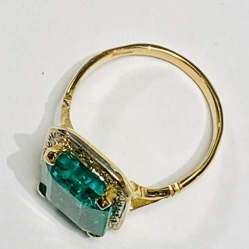 18ct Gold 6ct Emerald and Diamond Ring image-3