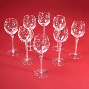 Set of Eight Hock Glasses with Barley Twist Stems