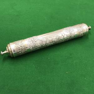 Indian Silver Scroll Holder presented to  Gov. of the Punjab 1924