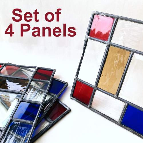 Set of Four Rectangular Leadlight Window Panels image-2