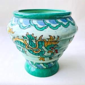 Crown Ducal Manchu Green Dragon Vase by Charlotte Rhead