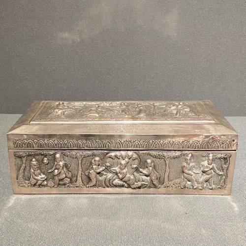 Large Decorative Indian Silver Casket image-2