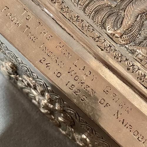 Large Decorative Indian Silver Casket image-5
