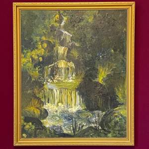 Impasto Oil on Board Painting of a Waterfall