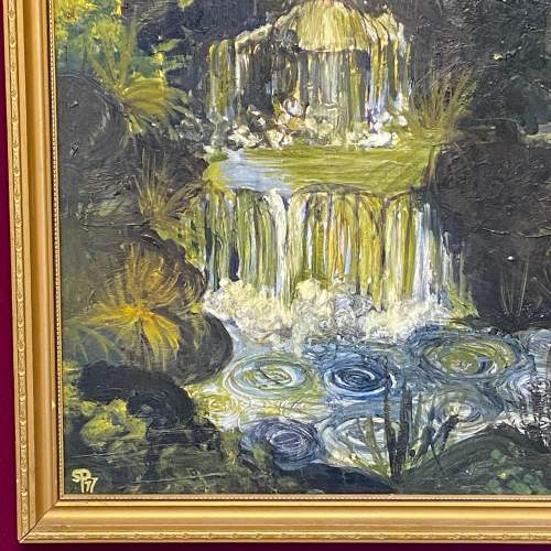 Impasto Oil on Board Painting of a Waterfall image-4