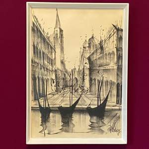 Fascinating Charcoal on Paper Waterside Scene Circa 1970