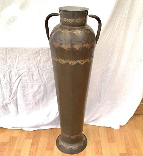 Decorative Floor Standing Eastern Metalic Urn Vase image-1