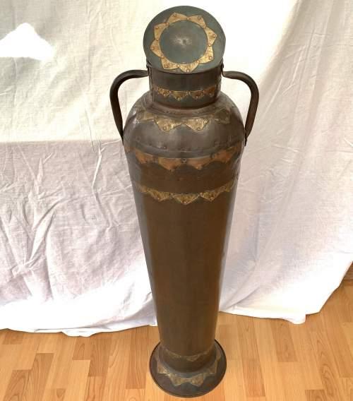 Decorative Floor Standing Eastern Metalic Urn Vase image-3