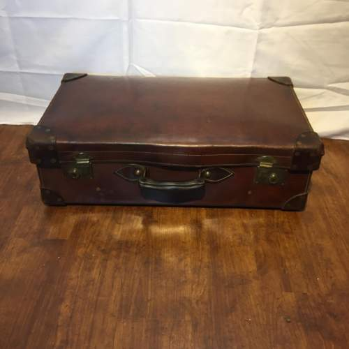 Quality Brown Leather Suitcase Circa 1930s image-1