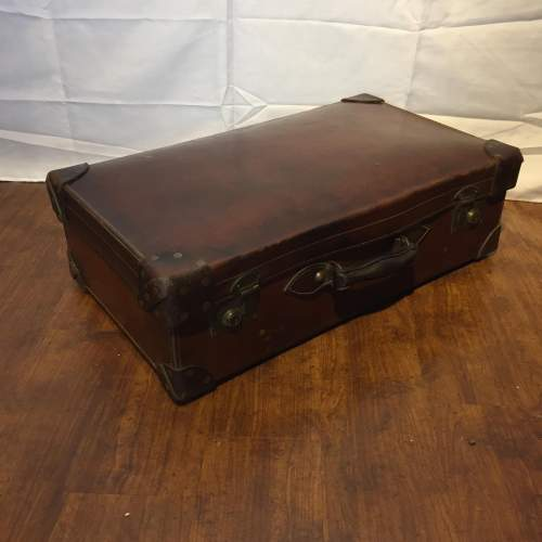 Quality Brown Leather Suitcase Circa 1930s image-2