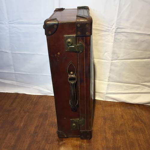 Quality Brown Leather Suitcase Circa 1930s image-3
