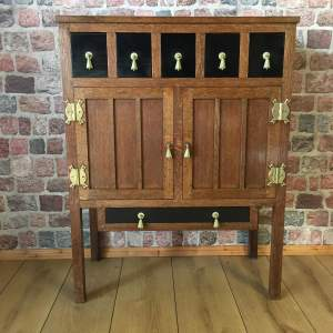 Arts and Crafts Six Drawer Oak and Ebonised Cabinet Sideboard