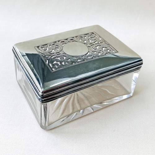Victorian Cut Glass and Silver Dressing Table Jar image-1