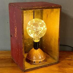 Upcycled Wooden Box and Copper Dolly Light