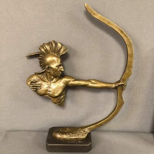 Bronze Native American Sculpture image-1