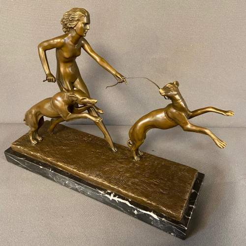 Art Deco Figure of a Lady with Greyhounds image-1