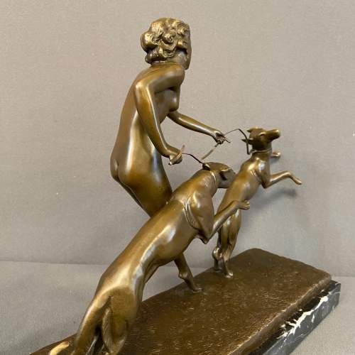 Art Deco Figure of a Lady with Greyhounds image-6