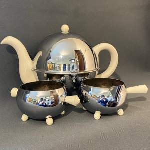 Art Deco Chrome Stayhot Teapot Set